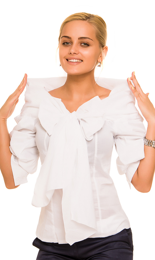 Белая Блузка С Бантом В Омске